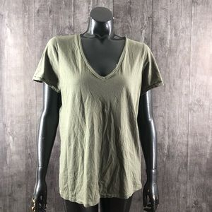 Adriano Goldshmied Olive Green V Neck Tee Large